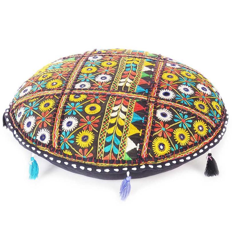 "Black Colorful Patchwork Decorative Rajkoti Round Floor Cushion Bohemian Seating Pillow Throw Cover - 22"""
