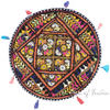 "Black Colorful Patchwork Decorative Round Floor Cushion Bohemian Seating Pillow Throw Cover - 22"" 1"