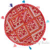 "Red Decorative Seating Bohemian Boho Patchwork Round Floor Pillow Meditation Cushion Throw Cover - 22"" 1"