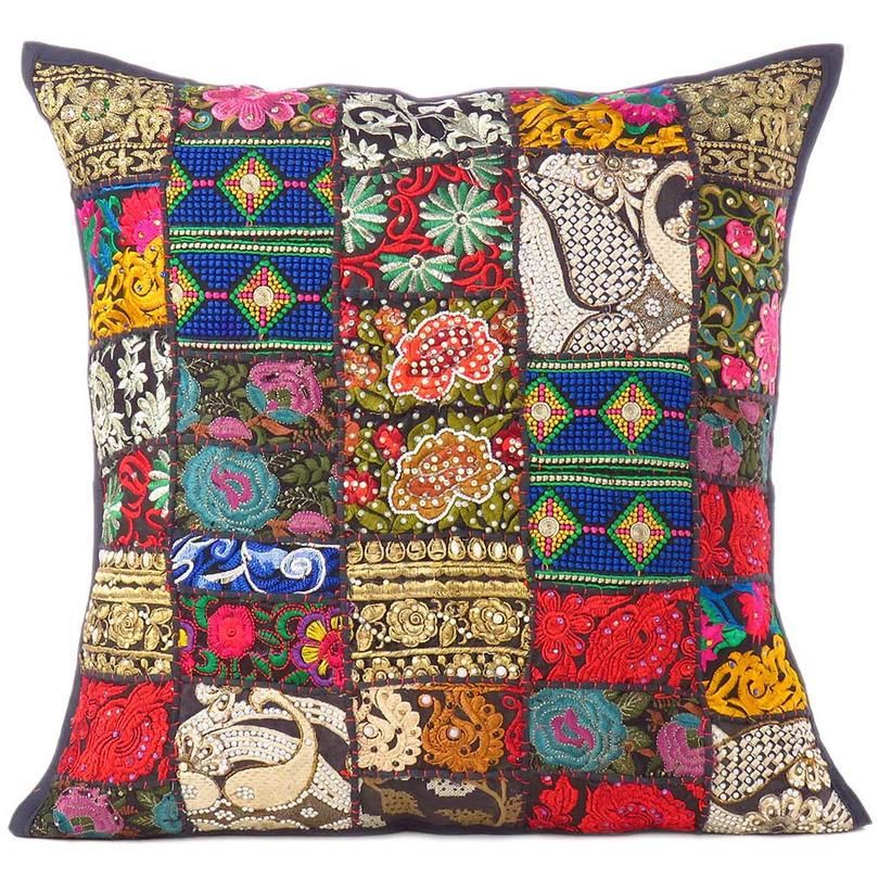 """Black Colorful Decorative Patchwork Sofa Throw Couch Pillow Floor Cushion Bohemian Boho Cover - 28"""""""