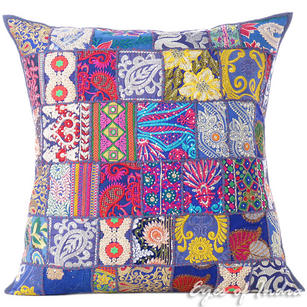 Blue Colorful Patchwork Decorative Sofa Bohemian Boho Throw Couch Pillow Floor Cushion Cover - 28""