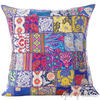 "Blue Colorful Patchwork Decorative Sofa Bohemian Boho Throw Couch Pillow Cushion Cover - 28"" 1"