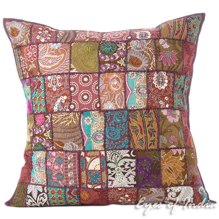 "Brown Decorative Colorful Sofa Throw Bohemian Boho Couch Pillow Cushion Cover - 28"""