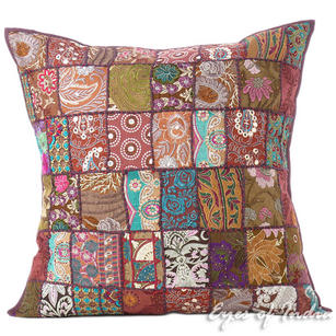 Brown Decorative Colorful Sofa Throw Bohemian Boho Couch Pillow Floor Cushion Cover - 28""