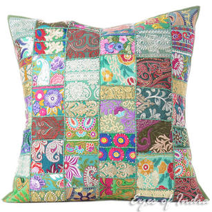 Green Patchwork Colorful Decorative Throw Sofa Pillow Boho Bohemian Couch Floor Cushion Cover - 28""