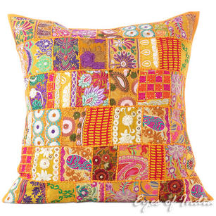 Yellow Colorful Sofa Bohemian Boho Patchwork Decorative Throw Couch Pillow Floor Cushion Cover - 28""