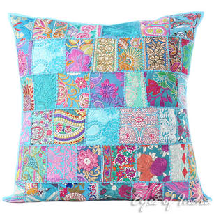 Blue Colorful Patchwork Decorative Couch Pillow Floor Cushion Sofa Bohemian Boho Throw Cover - 28""