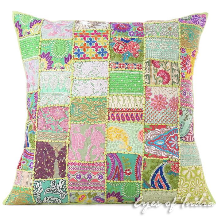 Green Colorful Decorative Sofa Throw Bohemian Boho Couch Pillow Floor Cushion Cover 28