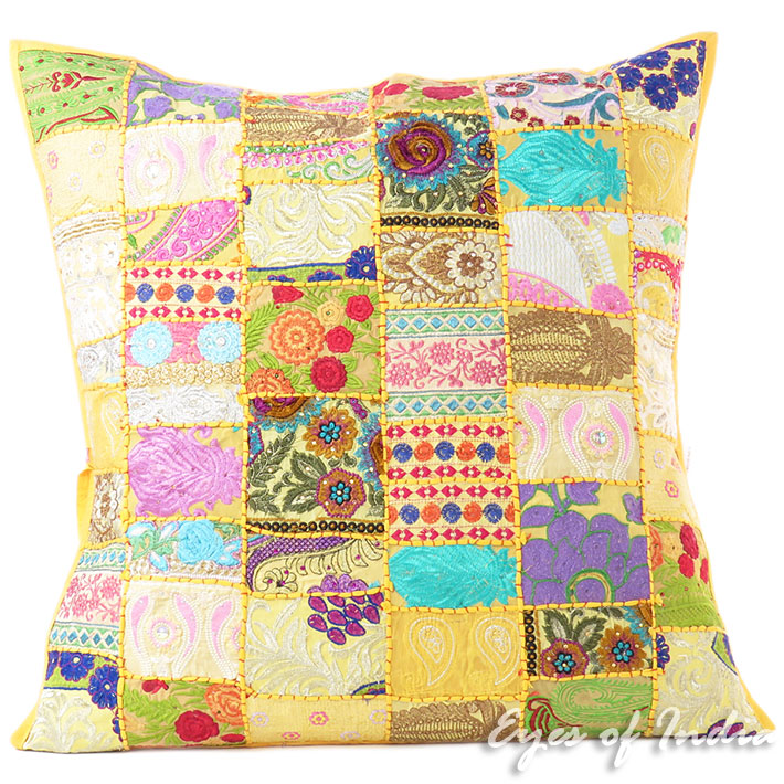 Yellow Patchwork Colorful Decorative Boho Bohemian Throw Sofa Pillow Couch Floor Cushion Cover - 28""