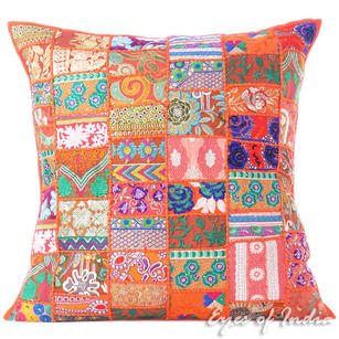 Orange Colorful Patchwork Decorative Sofa Bohemian Boho Floor Cushion Couch Pillow Cover - 28""