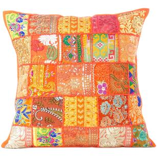 """Orange Colorful Patchwork Decorative Sofa Bohemian Boho Floor Cushion Couch Pillow Cover - 28"""""""