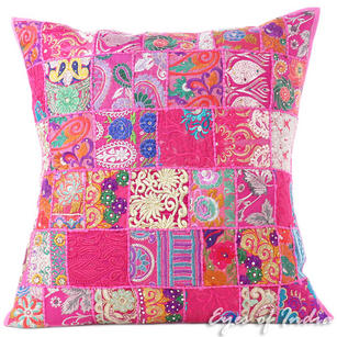Pink Patchwork Colorful Decorative Boho Bohemian Throw Sofa Pillow Couch Cushion Cover - 28""