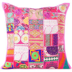 """Pink Patchwork Colorful Decorative Boho Bohemian Throw Sofa Pillow Couch Floor Cushion Cover - 28"""""""