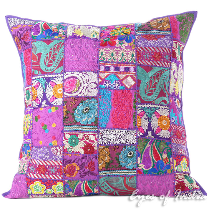 Purple Colorful Decorative Patchwork Sofa Cushion Throw Bohemian Boho Couch Pillow Cover - 28""