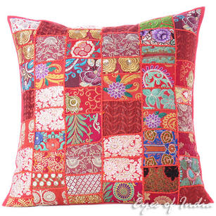 Red Colorful Decorative Floor Cushion Throw Bohemian Boho Patchwork Sofa Couch Pillow Cover - 28""