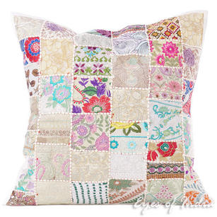White Patchwork Colorful Decorative Throw Sofa Pillow Couch Floor Cushion Boho Bohemian Cover - 28""