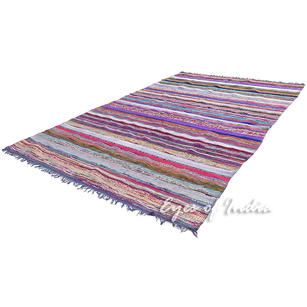 Blue Chindi Decorative Colorful Boho Woven Area Rag Rug - 5 X 8 ft