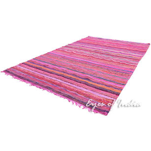 Colorful Pink Decorative Woven Chindi Bohemian Area Rag Rug - 5 X 8 ft