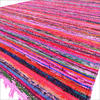 Colorful Pink Decorative Woven Chindi Bohemian Area Rag Rug - 5 X 8 ft 1