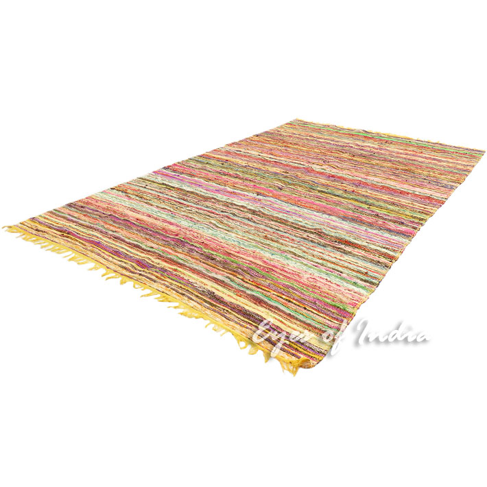 Yellow Decorative Boho Colorful Woven Chindi Area Rag Rug - 5 X 8 ft