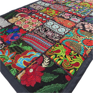 """Black Embroidered Decorative Colorful Wall Hanging Boho Tapestry - 20 X 40"""""""