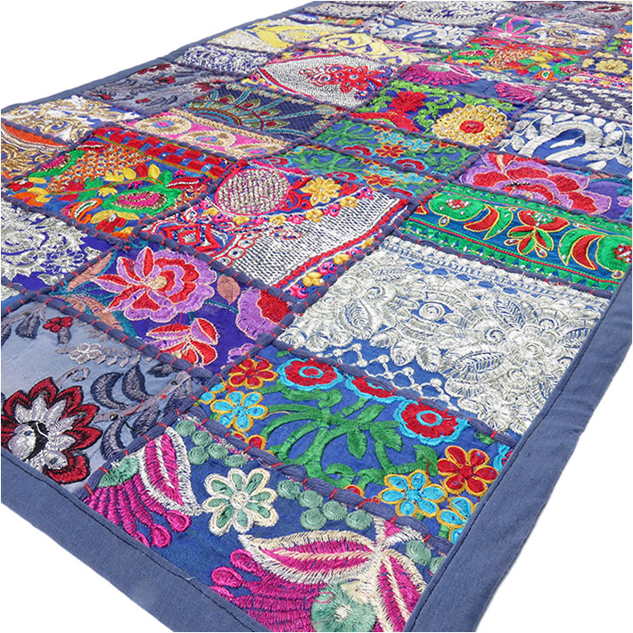 Blue Embroidered Decorative Bohemian Multicolor Wall Hanging Tapestry - 22 X 80""