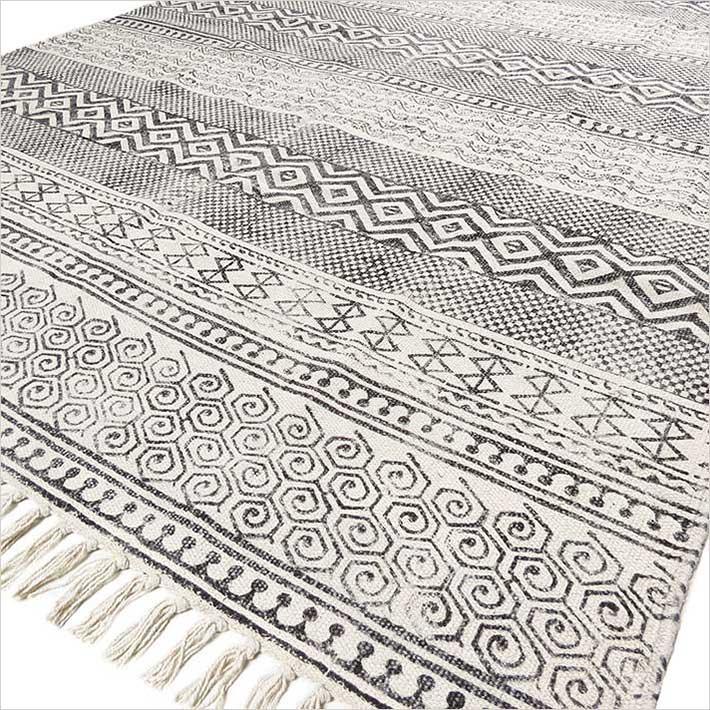 Black White Cotton Block Print Area Boho Chic Accent