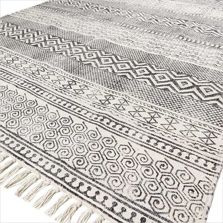 Black Off-White Cotton Block Print Area Boho Chic Accent Dhurrie Rug - 3 X 5 to 8 X 10 ft