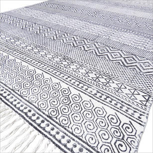 White Black Cotton Block Print Area Boho Chic Accent Dhurrie Rug - 3 X 5 to 8 X 10 ft