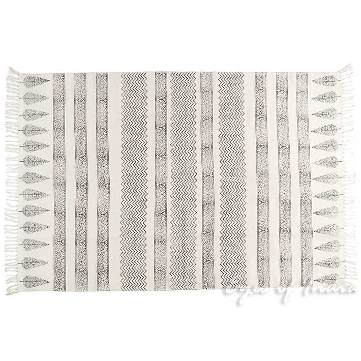 White Black Cotton Block Print Area Accent Dhurrie Boho Chic Rug 3 X 5 To 8 Ft