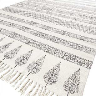 White Black Cotton Block Print Area Accent Dhurrie Boho Chic Rug - 3 X 5 to 5 X 8 ft
