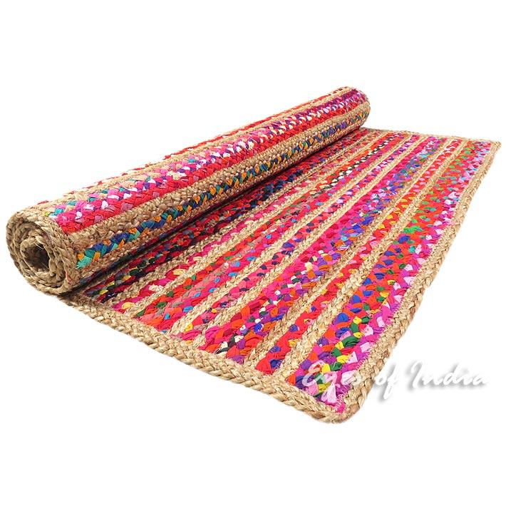 Colorful Woven Jute Chindi Braided Area Decorative Boho