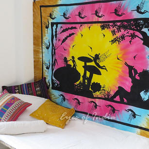 Tie Dye Colorful Fairy Pixie Tapestry Bohemian Bedspread Hippie Boho Wall Hanging - Small/Twin