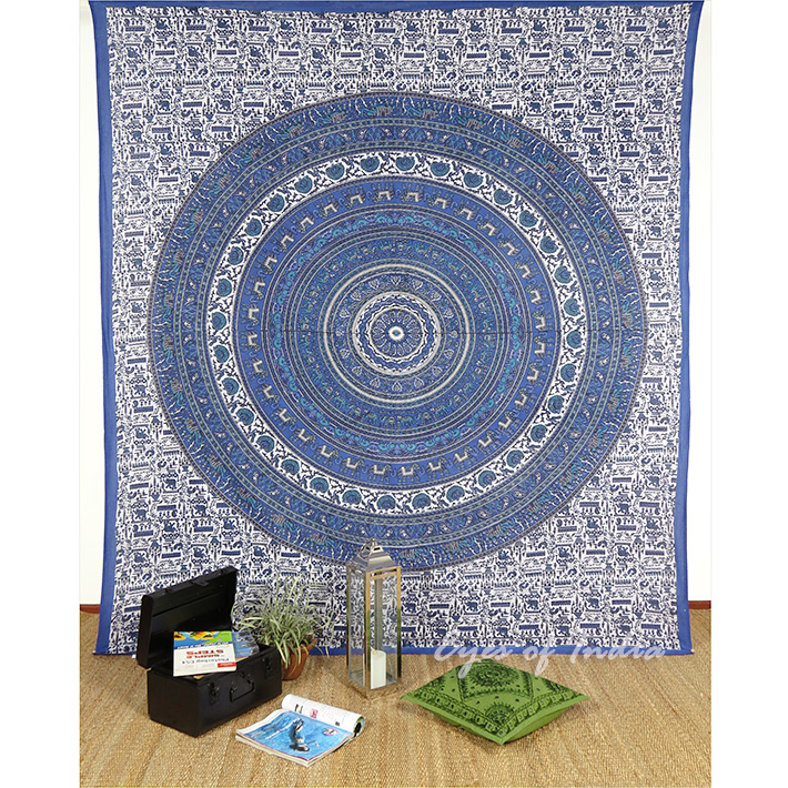 Blue Elephant Hippie Mandala Tapestry Boho Bedspread Wall Hanging - Large/Queen