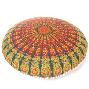 Green Decorative Round Mandala Floor Cushion Meditation Pillow Cover - 32""