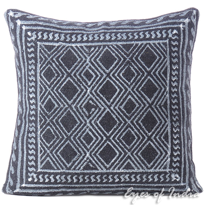 """Black Block Print Dhurrie Sofa Decorative Pillow Throw Cushion Cover - 20"""""""
