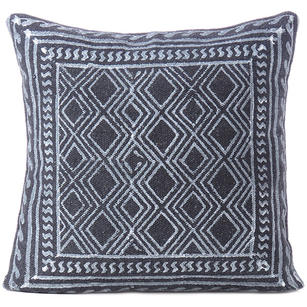 Black Block Print Dhurrie Sofa Decorative Pillow Throw Cushion Cover - 20""