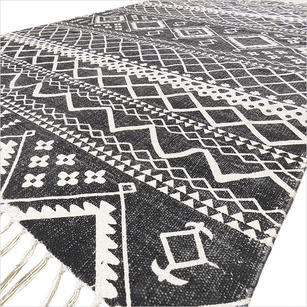 Black Cotton Block Print Area Accent Dhurrie Rug Flat Weave Boho Rug - 4 X 6 ft