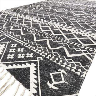 Black Cotton Block Print Area Accent Dhurrie Rug Flat Weave Boho Rug - 4 X 6 ft