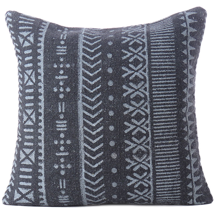 Black Decorative Sofa Block Print Cushion Pilllow Throw Cover - 20""