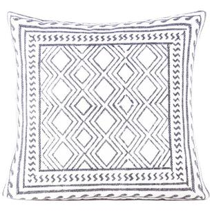 White Black Decorative Dhurrie Bloack Print Bohemian Cushion Pillow Cover - 20""