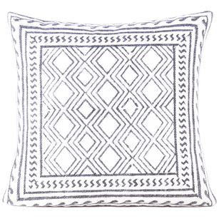 "20"" White Black Decorative Pillow Dhurrie Block Print Cushion Cover Floor Couch"