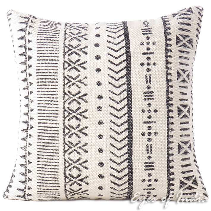 Black White Decorative Pillow Block Print Cushion Floor Couch Sofa Throw Cover- 20""