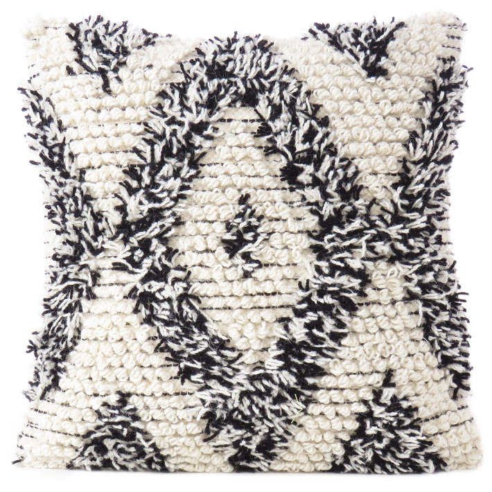 Black White Woven Tufted Tassel Wool Embroidered on Cotton Cushion Fringe Throw Bohemian Pillow Cover - 20""