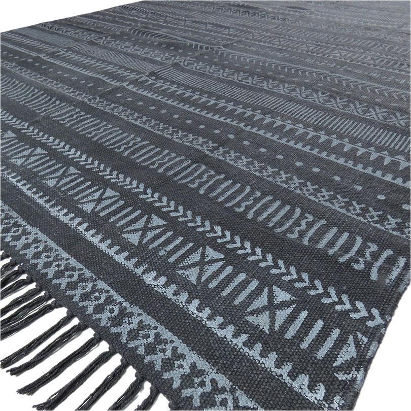 4 X 6 ft Black Cotton Block Print Area Dhurrie Rug Flat Weave Woven Tassel Boho Chic Bohemian Accent Handmade Handwoven