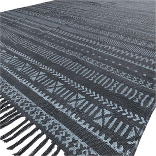 4 X 6 ft Black Cotton Block Print Area Accent Dhurrie Rug Flat Weave Woven Boho