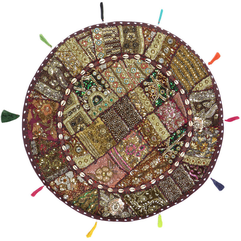 """Round Brown Patchwork Floor Pillow Bohemian Colorful Decorative Cushion Seating Throw Cover - 28"""""""