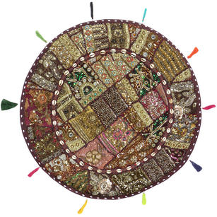 Round Brown Patchwork Floor Pillow Bohemian Colorful Decorative Cushion Seating Throw Cover - 28""