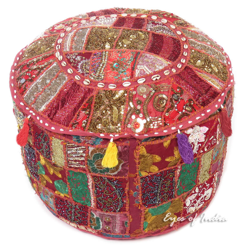 Burgundy Round Decorative Embroidered Pouf Pouffe Ottoman Bohemian Cover - 22 X 12""