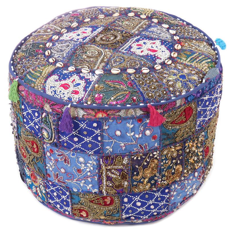 "Blue Embroidered Pouf Pouffe Ottoman Boho Decorative Cover - 22 X 12"""